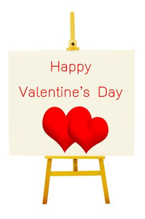 happy Valentine on art board with easel  photo