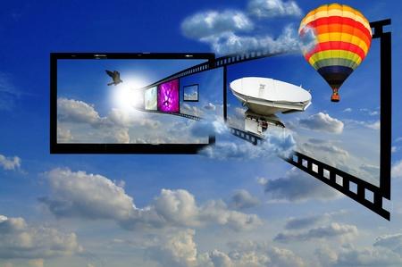 home theater: LCD TV in cielo come concetto di 3D TV LCD Archivio Fotografico