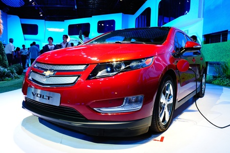 chevrolet: BANGKOK - JANUARY 19: Chevrolet Volt, electronic power car from General motor, being displayed at 6th BOI FAIR 2012 during January 6-22, 2012 in Bangkok, Thailand.