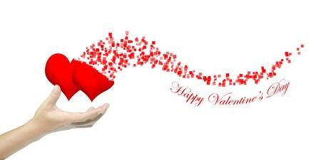 Ruka drží srdce jako valentýn karta