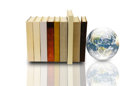 books and 3d earth globe  photo