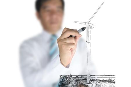 renewable resources: Businessman draw Turbine power generator