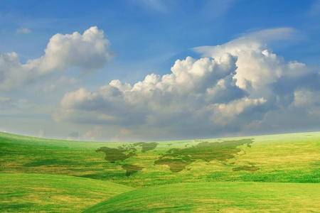 Beautiful Blue Sky With Green Grass Field photo