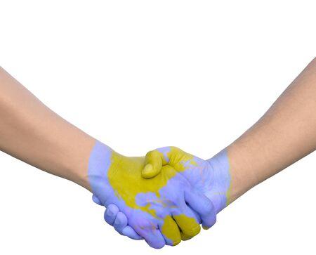 mundo manos: Los hombres de negocios del mundo agitando las manos pintadas