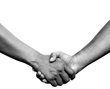 saludo de manos: Apret�n de manos o una mano en la mano sobre fondo blanco Foto de archivo