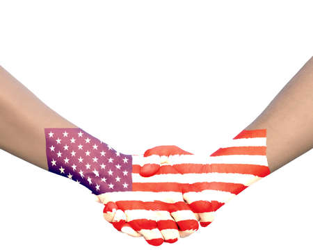 Hand in Hand of Handshake with Flag of United state of America photo
