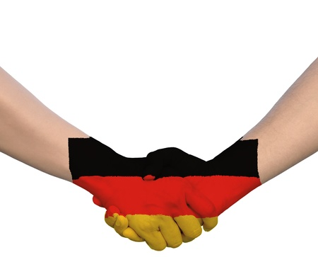 Hand in Hand of Handshake with Flag of Germany photo