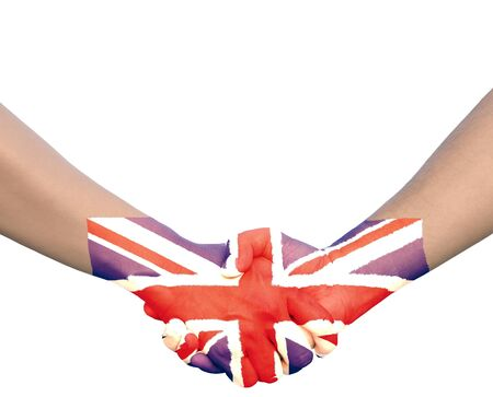 Hand in Hand of Handshake with Flag of Union Jack or United Kingdom photo