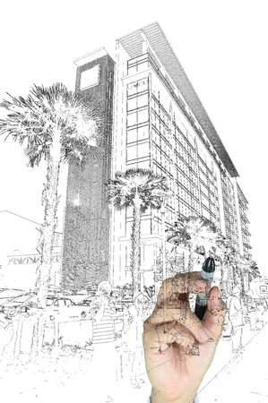 Hand of business man draw building and cityscape Zdjęcie Seryjne - 12253070