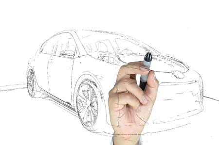 Hand of business man draw modern car photo