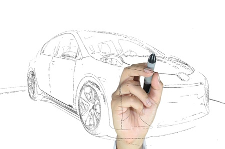 Hand of business man draw modern car photo