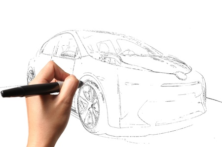 Male Hand drawing car Stock Photo