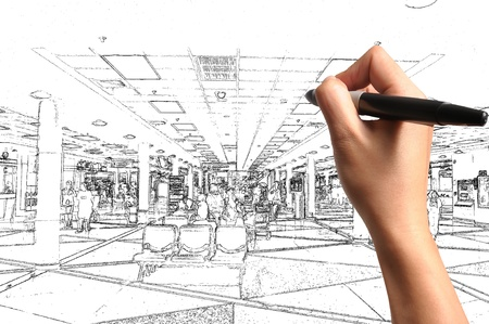 Male Hand drawing building and inter design as architect plan Stock Photo - 12253186