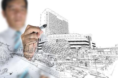 Hombre de negocios moderno edificio dibujar y el paisaje urbano