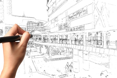 Hand of business man draw visual cityscape photo