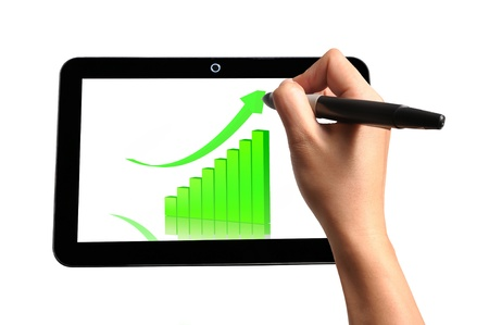 note pad and pen: Hand of Business Man Draw 3d Graph on Touch screen of Tablet PC