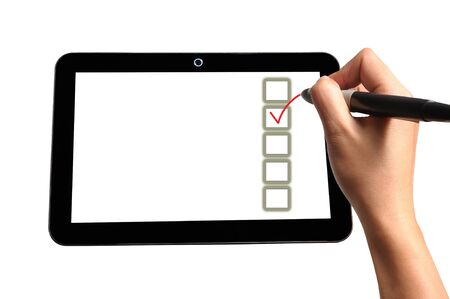 answer approve of: Hand of Business Man Write check mark option and box on Touch screen of Tablet PC