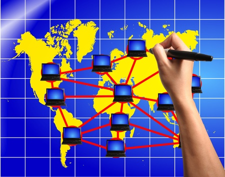 Hand of Business Man Draw Global Network Diagram on Touch screen of Tablet PC photo