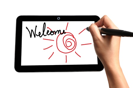 Hand of Business Man Welcome on Touch screen of Tablet PC photo