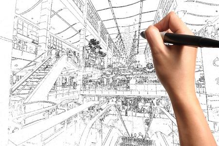 Male Hand Draw Building Interior Design Stock Photo - 12253251