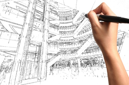 Male Hand Draw Building Interior Design Stock Photo - 12253239