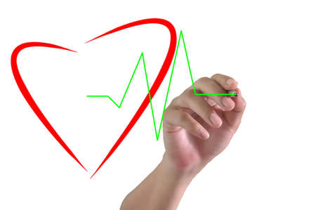 heart rate: Hand of Business Man Draw Heart and Pulse Stock Photo