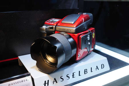 BANGKOK, THAILAND - FEB.19: The Limited edition Hasselblad H4D Ferrari edition was presented at Hasselblad Booth in Thailand Photofair 2012 on FEB.19, 2012  at BITEC Exhibition center in Bangkok, Thailand.