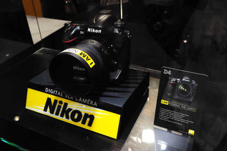 BANGKOK, THAILAND - FEB.19: The new Nikon D4 was presented at Nikon Booth in Thailand Photofair 2012 on FEB.19, 2012  at BITEC Exhibition center in Bangkok, Thailand.