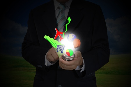 Hand of Business Man Pushing touching screen of mobile smart phone as information Technology concept photo