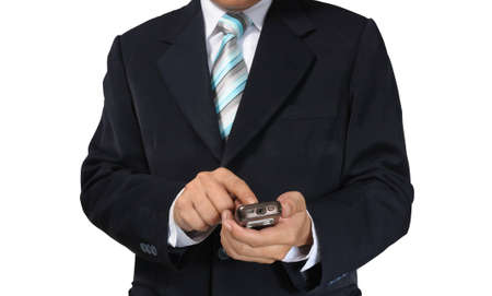 Hand of Business Man Pushing touch screen of mobile smart phone on white background with clipping path photo