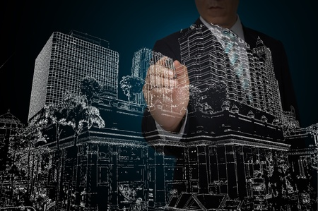 Business Man Drawing Gebäude und Stadtbild Standard-Bild - 12465355