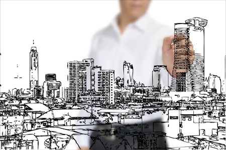 Business Man Drawing building and cityscape