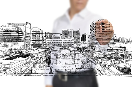 Business Man Drawing building and cityscape Zdjęcie Seryjne - 12465370