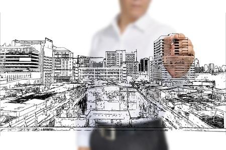 Business Man Zeichnung Gebäude und Stadtbild Standard-Bild - 12465370