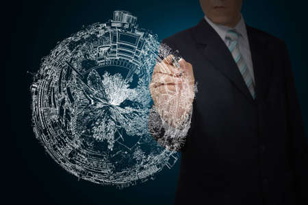 Business Man Drawing earth globe Stock Photo - 12465369