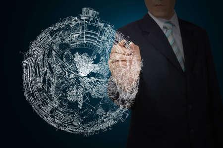 Business Man Drawing earth globe