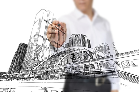 arquitecto: Hombre de negocios Dibujo edificio y el paisaje urbano Foto de archivo
