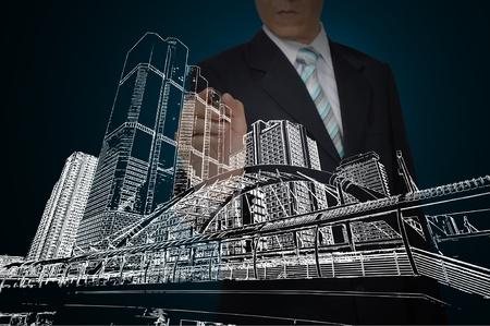 Business Man Zeichnung Gebäude und Stadtbild Standard-Bild - 12465372