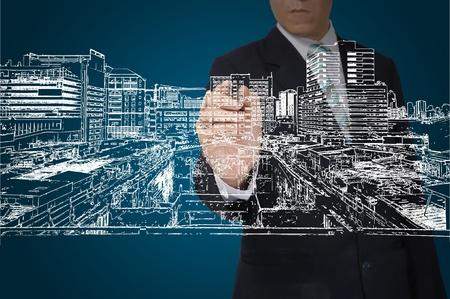 Business Man Zeichnung Gebäude und Stadtbild Standard-Bild - 12774481