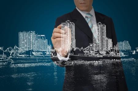 Business Man Zeichnung Gebäude und Stadtbild Standard-Bild - 12774483