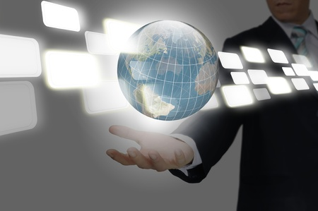 Hand of Business Man hold earth globe
