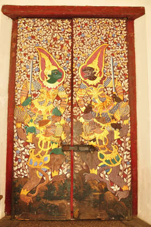 Thai art of painting on Ancient Wooden door