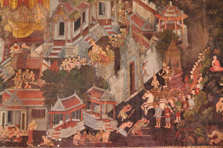 Traditional Thai art of painting on Ancient wall of Thai temple