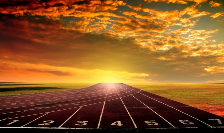 pista de atletismo: Atleta de pista en el estadio, Bangkok