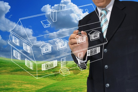 Business Man Draw House on Real Estate concept Stock Photo - 12919617
