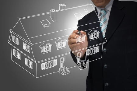 Business Man Draw House on Real Estate concept