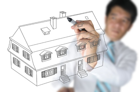 Business Man Draw House on Real Estate concept photo