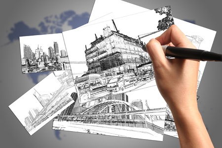Hand of Business Man Drawing Architect Plan Stock Photo - 12790400