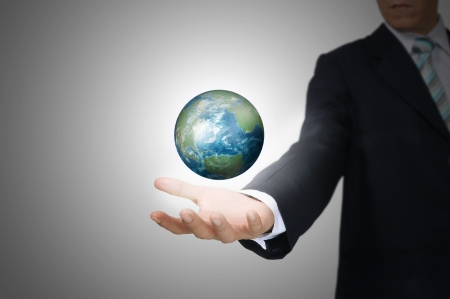 Hand of Business Man Hold Earth Globe Stock Photo - 12802992