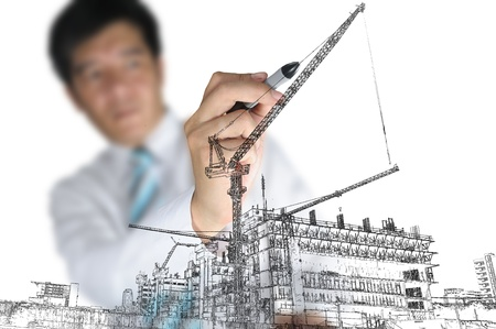 Business Man Drawing Construction site photo